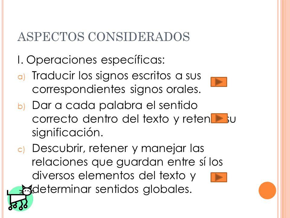 ASPECTOS CONSIDERADOS I. Operaciones específicas: a) Traducir los signos escritos a sus correspondientes signos orales. b) Dar a cada palabra el senti