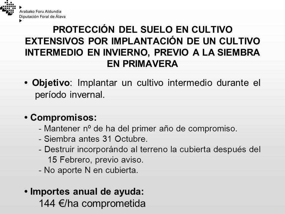 PROTECCIÓN DEL SUELO EN CULTIVO EXTENSIVOS POR IMPLANTACIÓN DE UN CULTIVO INTERMEDIO EN INVIERNO, PREVIO A LA SIEMBRA EN PRIMAVERA Objetivo: Implantar