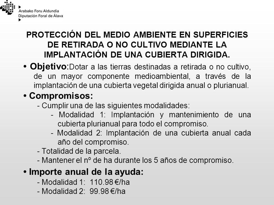 PROTECCIÓN DEL MEDIO AMBIENTE EN SUPERFICIES DE RETIRADA O NO CULTIVO MEDIANTE LA IMPLANTACIÓN DE UNA CUBIERTA DIRIGIDA. Objetivo: Dotar a las tierras