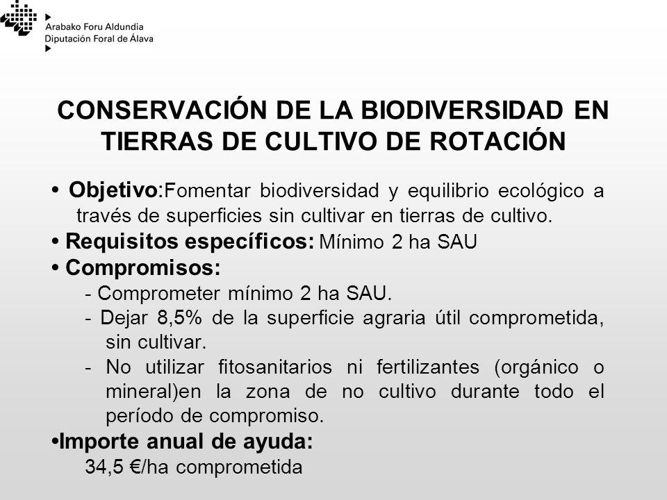 CONSERVACIÓN DE LA BIODIVERSIDAD EN TIERRAS DE CULTIVO DE ROTACIÓN Objetivo: Fomentar biodiversidad y equilibrio ecológico a través de superficies sin
