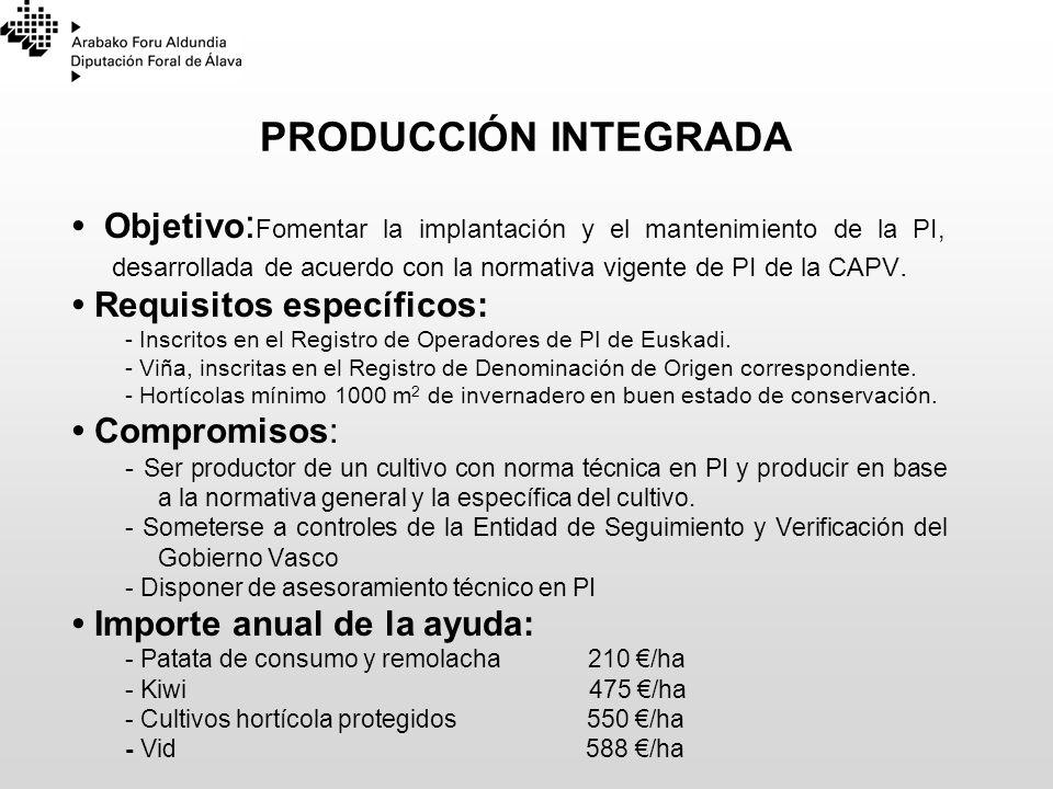 PRODUCCIÓN INTEGRADA Objetivo : Fomentar la implantación y el mantenimiento de la PI, desarrollada de acuerdo con la normativa vigente de PI de la CAP
