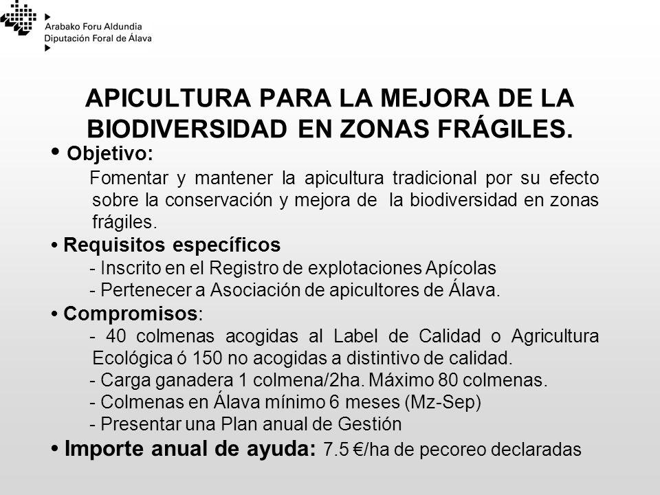 APICULTURA PARA LA MEJORA DE LA BIODIVERSIDAD EN ZONAS FRÁGILES. Objetivo: Fomentar y mantener la apicultura tradicional por su efecto sobre la conser