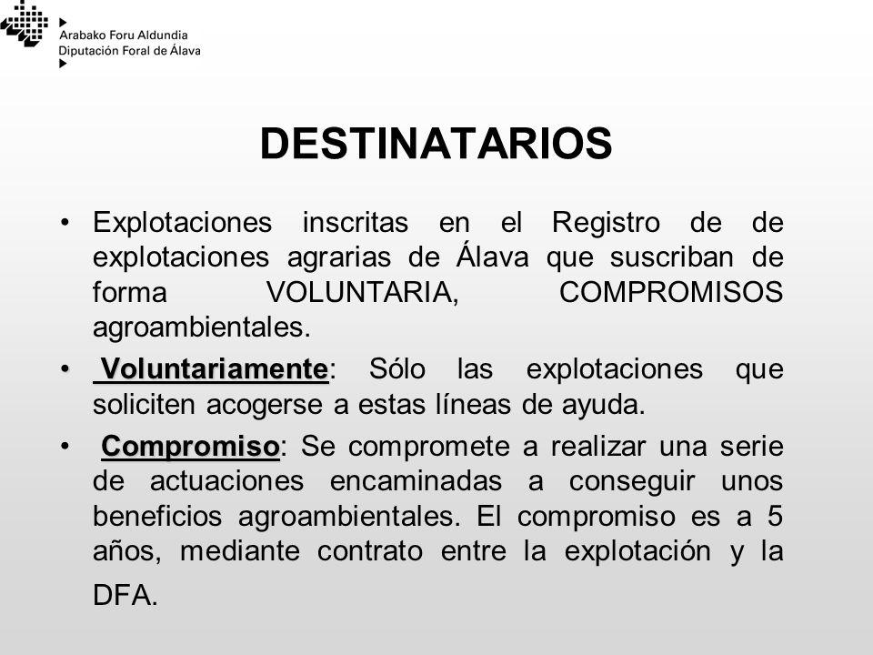 DESTINATARIOS Explotaciones inscritas en el Registro de de explotaciones agrarias de Álava que suscriban de forma VOLUNTARIA, COMPROMISOS agroambienta