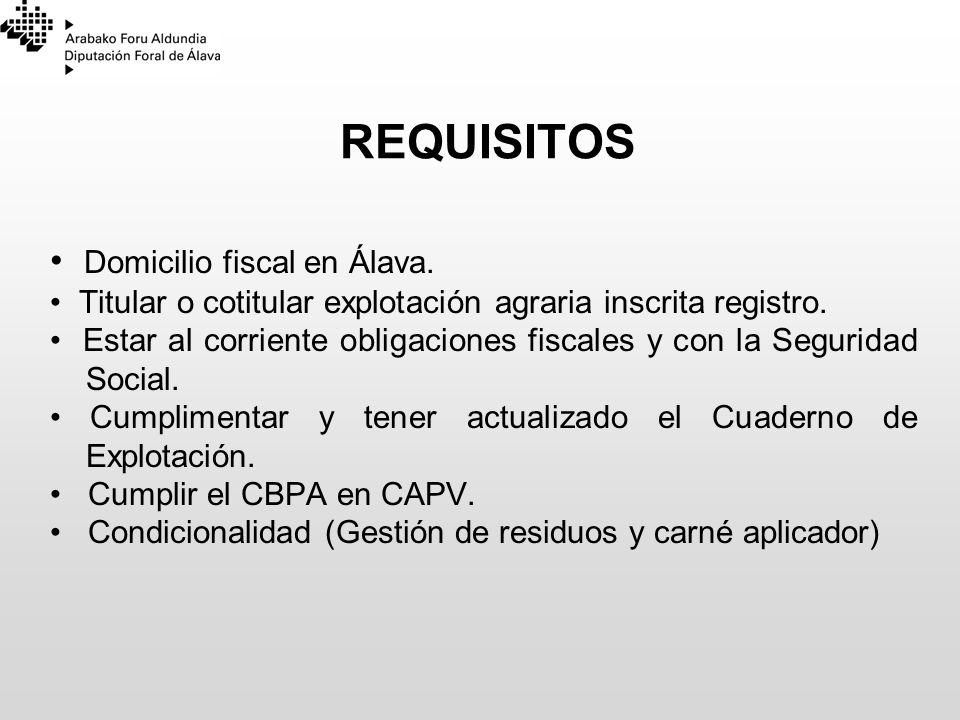 REQUISITOS Domicilio fiscal en Álava. Titular o cotitular explotación agraria inscrita registro. Estar al corriente obligaciones fiscales y con la Seg