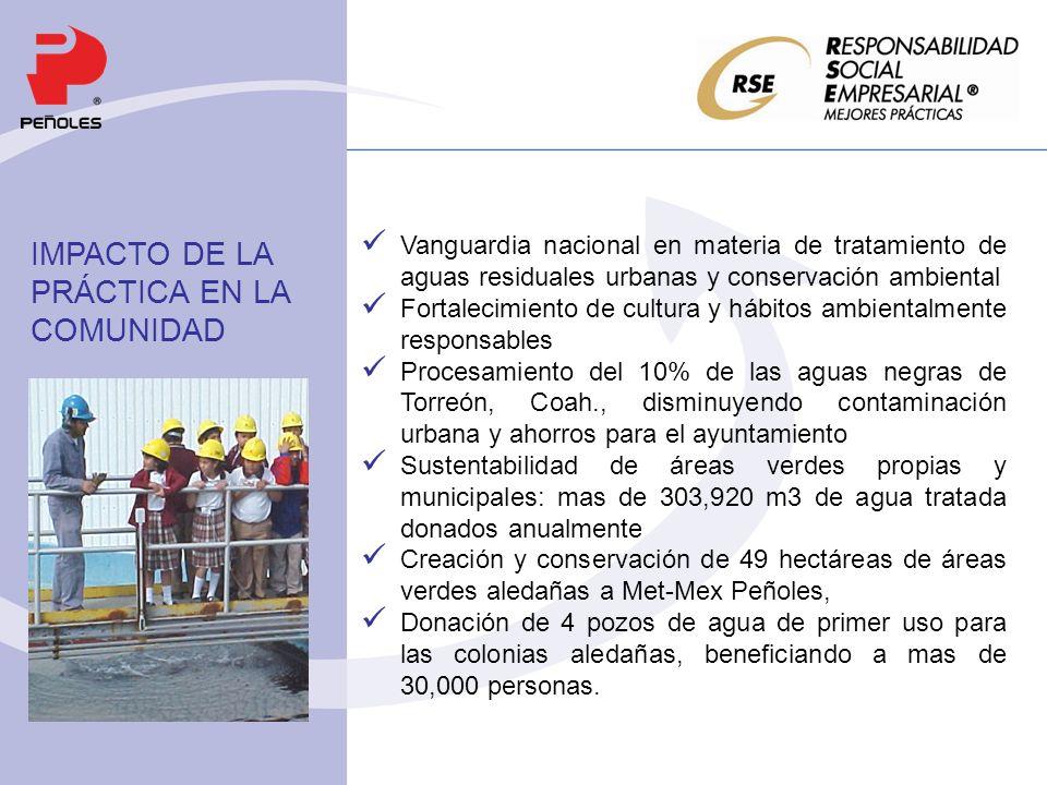 Vanguardia nacional en materia de tratamiento de aguas residuales urbanas y conservación ambiental Fortalecimiento de cultura y hábitos ambientalmente