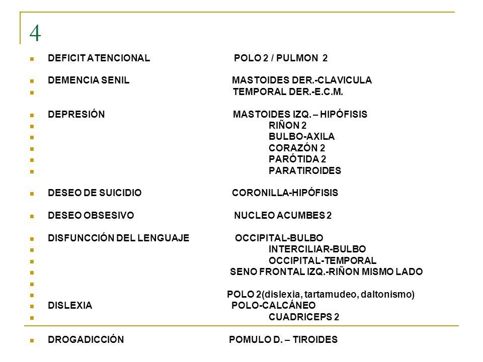 4 DEFICIT ATENCIONAL POLO 2 / PULMON 2 DEMENCIA SENIL MASTOIDES DER.-CLAVICULA TEMPORAL DER.-E.C.M. DEPRESIÓN MASTOIDES IZQ. – HIPÓFISIS RIÑON 2 BULBO