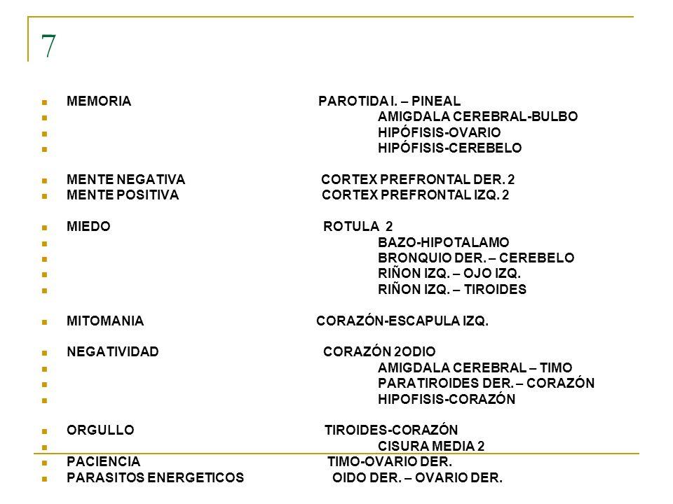 7 MEMORIA PAROTIDA I. – PINEAL AMIGDALA CEREBRAL-BULBO HIPÓFISIS-OVARIO HIPÓFISIS-CEREBELO MENTE NEGATIVA CORTEX PREFRONTAL DER. 2 MENTE POSITIVA CORT