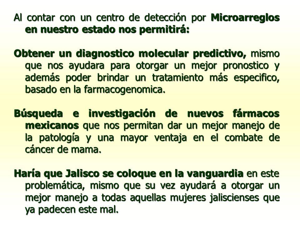 Al contar con un centro de detección por Microarreglos en nuestro estado nos permitirá: Obtener un diagnostico molecular predictivo, mismo que nos ayu