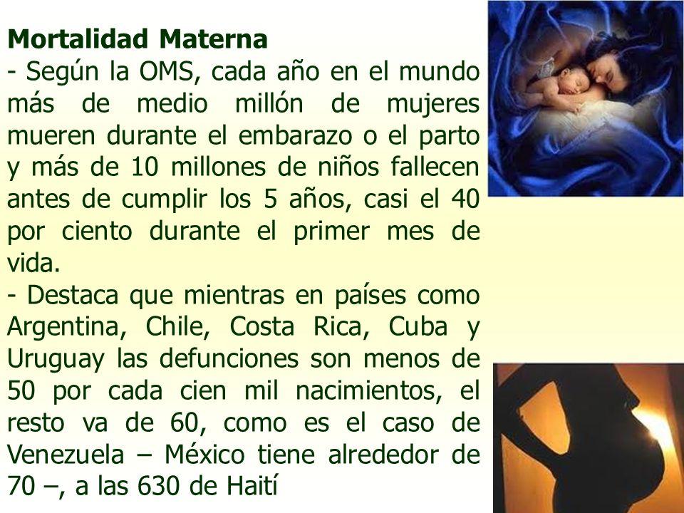 Mortalidad Materna - Según la OMS, cada año en el mundo más de medio millón de mujeres mueren durante el embarazo o el parto y más de 10 millones de n
