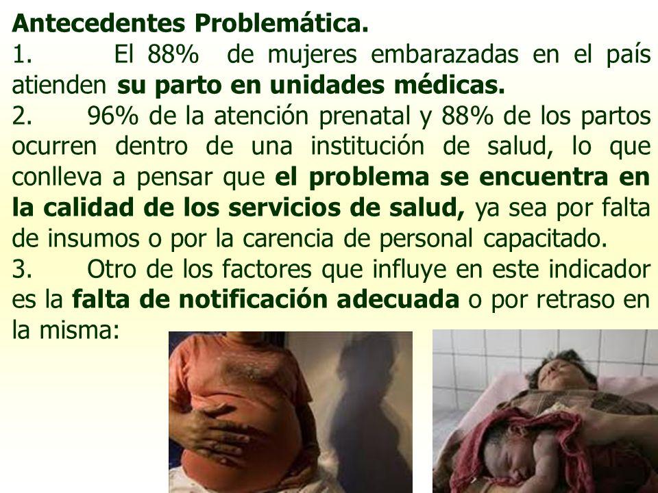 Antecedentes Problemática. 1. El 88% de mujeres embarazadas en el país atienden su parto en unidades médicas. 2. 96% de la atención prenatal y 88% de