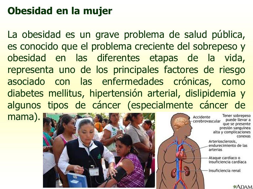 Obesidad en la mujer La obesidad es un grave problema de salud pública, es conocido que el problema creciente del sobrepeso y obesidad en las diferent