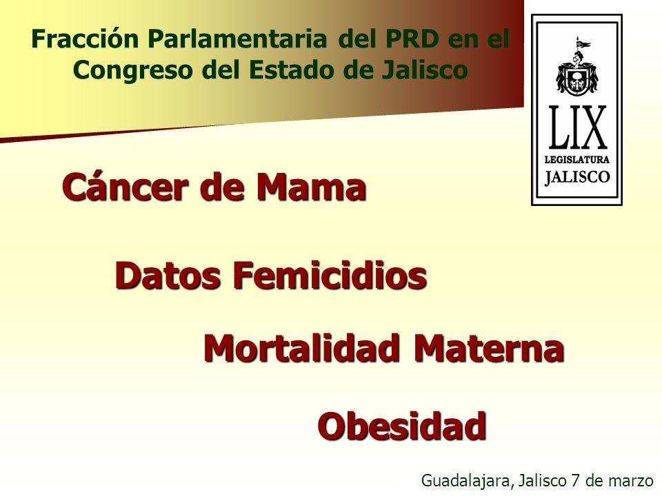 Cáncer de Mama Datos Femicidios Mortalidad Materna Obesidad Guadalajara, Jalisco 7 de marzo Fracción Parlamentaria del PRD en el Congreso del Estado d