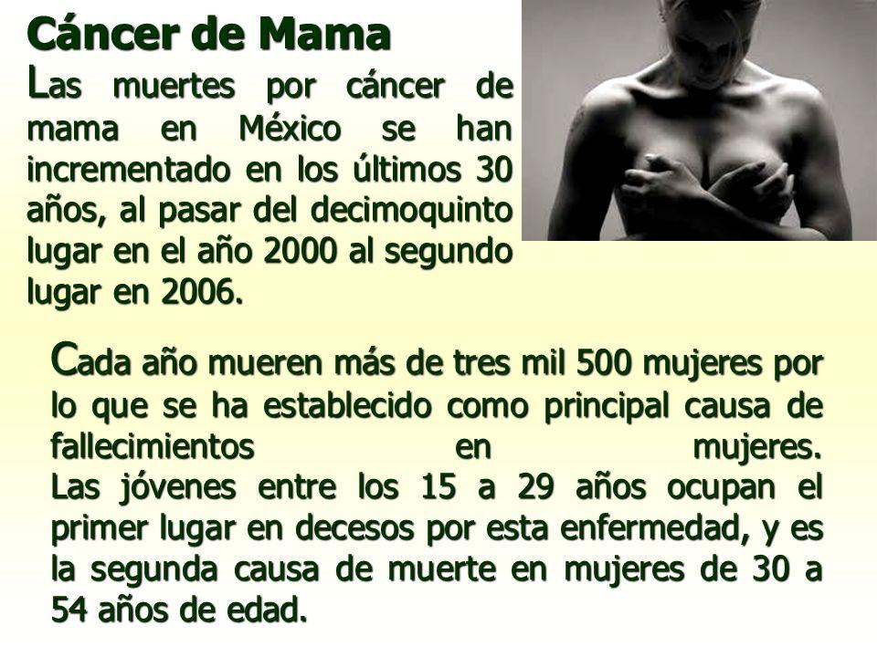 Cáncer de Mama C ada año mueren más de tres mil 500 mujeres por lo que se ha establecido como principal causa de fallecimientos en mujeres. Las jóvene