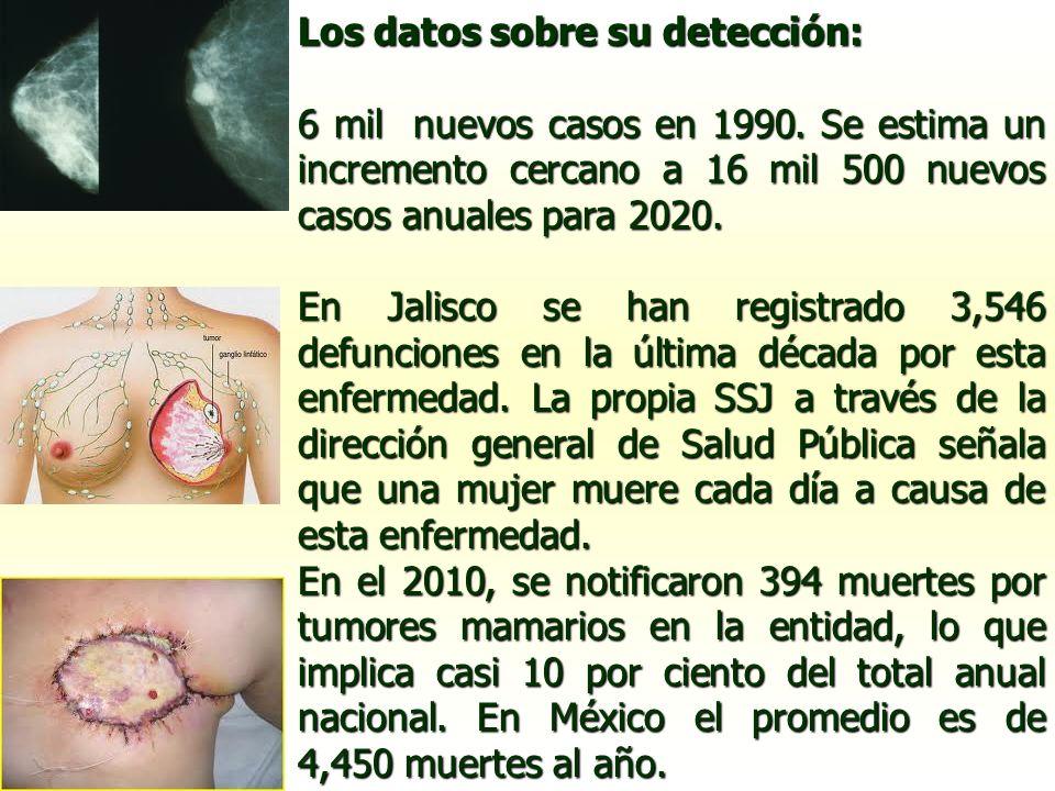 Los datos sobre su detección: 6 mil nuevos casos en 1990. Se estima un incremento cercano a 16 mil 500 nuevos casos anuales para 2020. En Jalisco se h