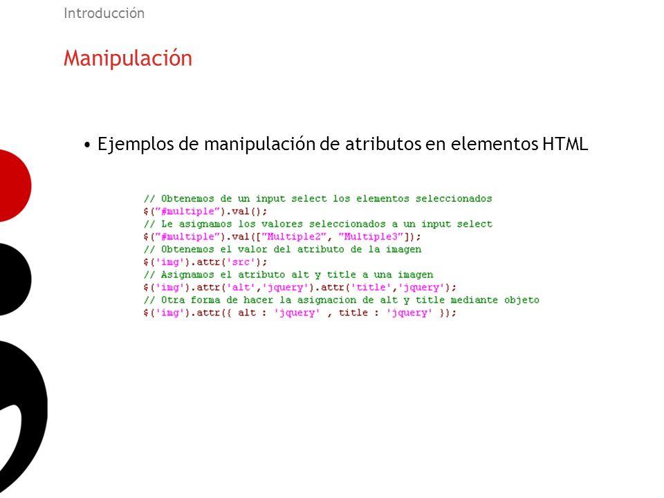 Manipulación Introducción Ejemplos de manipulación de atributos en elementos HTML