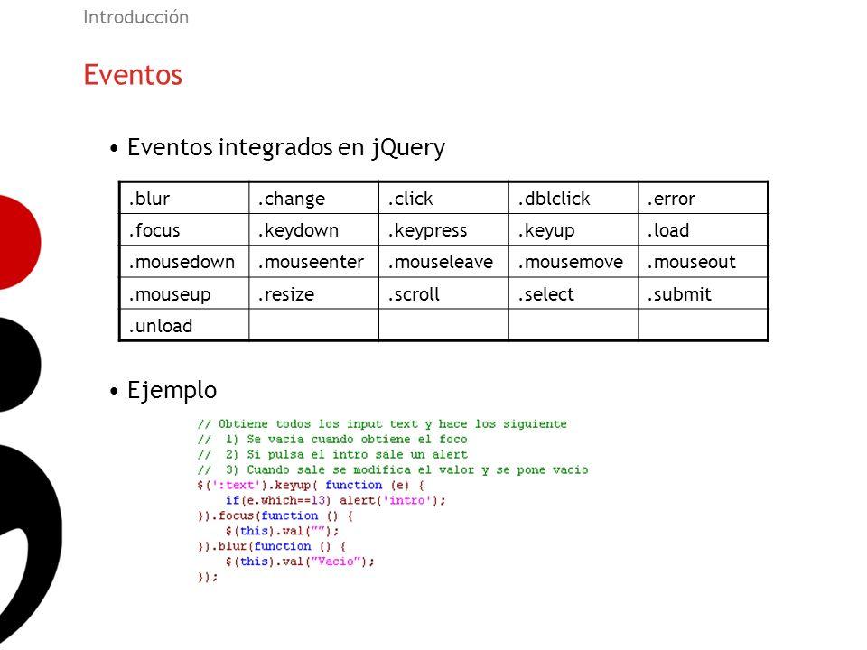 Eventos Introducción Eventos integrados en jQuery Ejemplo.blur.change.click.dblclick.error.focus.keydown.keypress.keyup.load.mousedown.mouseenter.mous