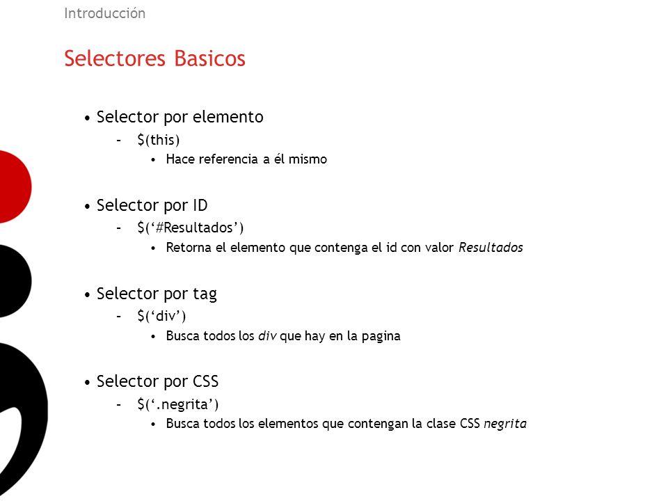 Selectores Basicos Introducción Selector por elemento –$(this) Hace referencia a él mismo Selector por ID –$(#Resultados) Retorna el elemento que cont