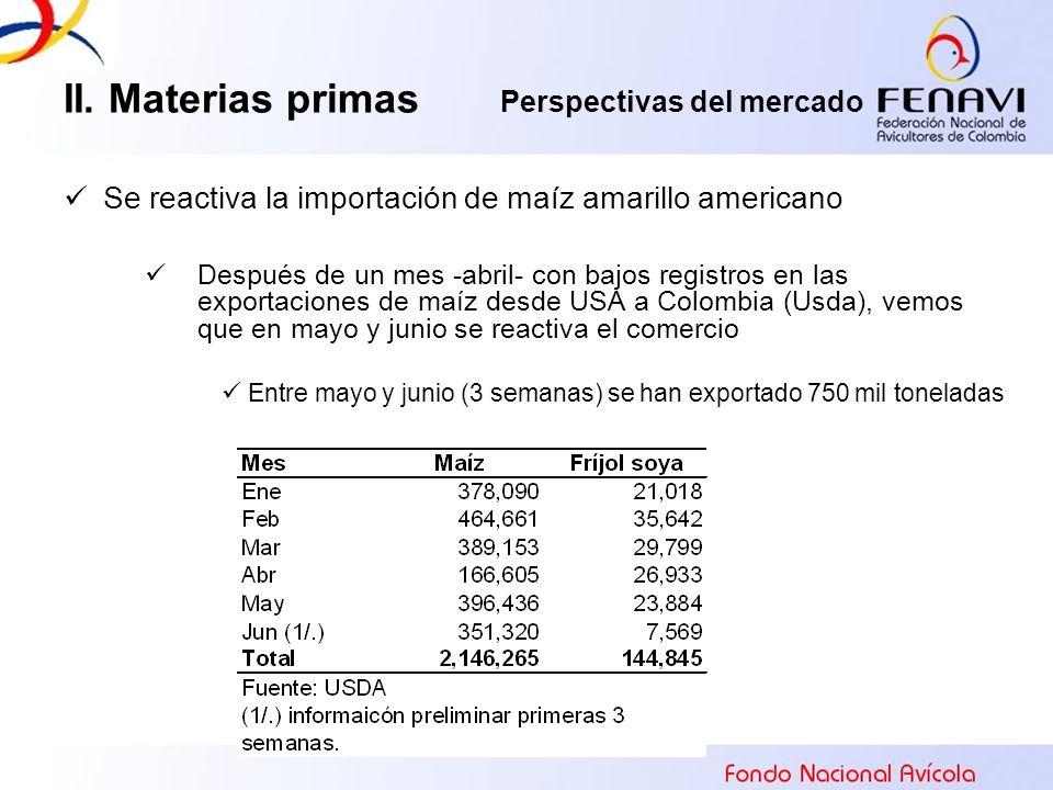 Se reactiva la importación de maíz amarillo americano Después de un mes -abril- con bajos registros en las exportaciones de maíz desde USA a Colombia