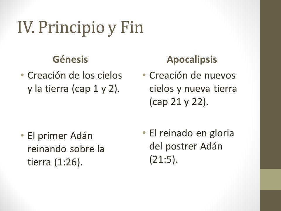 IV. Principio y Fin Génesis Creación de los cielos y la tierra (cap 1 y 2). El primer Adán reinando sobre la tierra (1:26). Apocalipsis Creación de nu