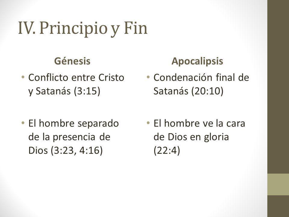 IV. Principio y Fin Génesis Conflicto entre Cristo y Satanás (3:15) El hombre separado de la presencia de Dios (3:23, 4:16) Apocalipsis Condenación fi