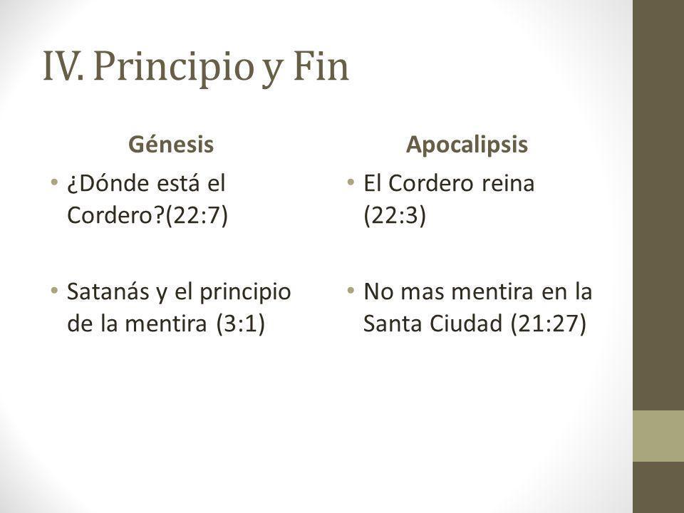 IV. Principio y Fin Génesis ¿Dónde está el Cordero?(22:7) Satanás y el principio de la mentira (3:1) Apocalipsis El Cordero reina (22:3) No mas mentir