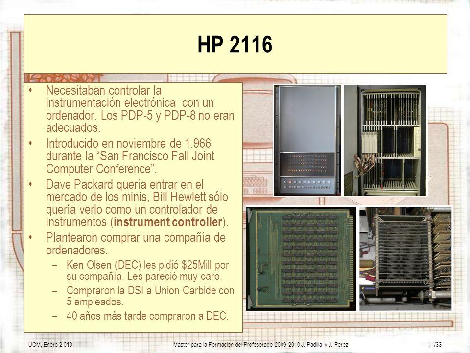 UCM, Enero 2.010Master para la Formación del Profesorado 2009-2010 J. Padilla y J. Pérez11/33 HP 2116 Necesitaban controlar la instrumentación electró