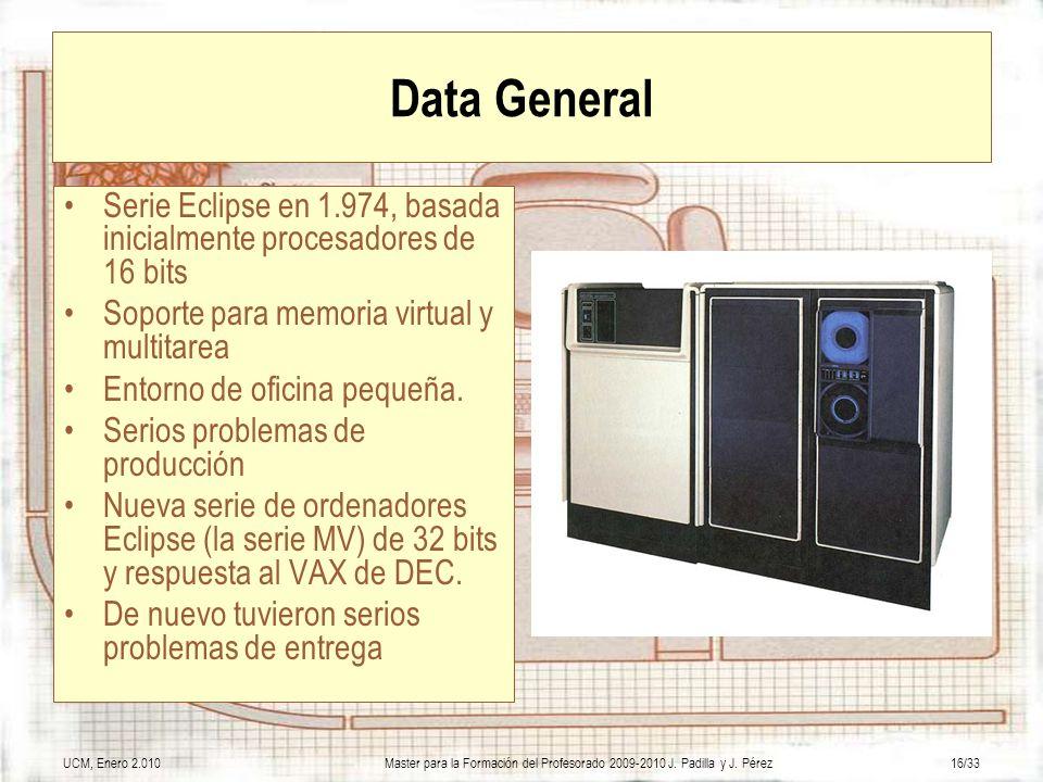 UCM, Enero 2.010Master para la Formación del Profesorado 2009-2010 J. Padilla y J. Pérez16/33 Data General Serie Eclipse en 1.974, basada inicialmente