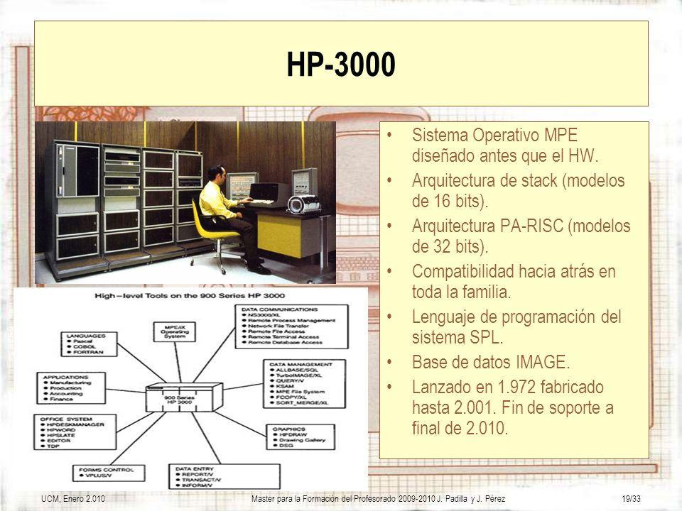UCM, Enero 2.010Master para la Formación del Profesorado 2009-2010 J. Padilla y J. Pérez19/33 HP-3000 Sistema Operativo MPE diseñado antes que el HW.