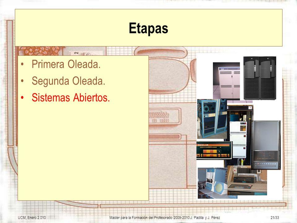 UCM, Enero 2.010Master para la Formación del Profesorado 2009-2010 J. Padilla y J. Pérez21/33 Etapas Primera Oleada. Segunda Oleada. Sistemas Abiertos