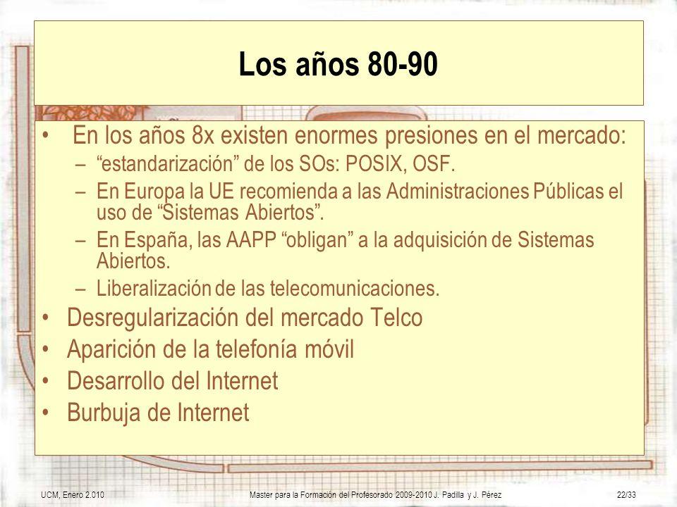 UCM, Enero 2.010Master para la Formación del Profesorado 2009-2010 J. Padilla y J. Pérez22/33 Los años 80-90 En los años 8x existen enormes presiones