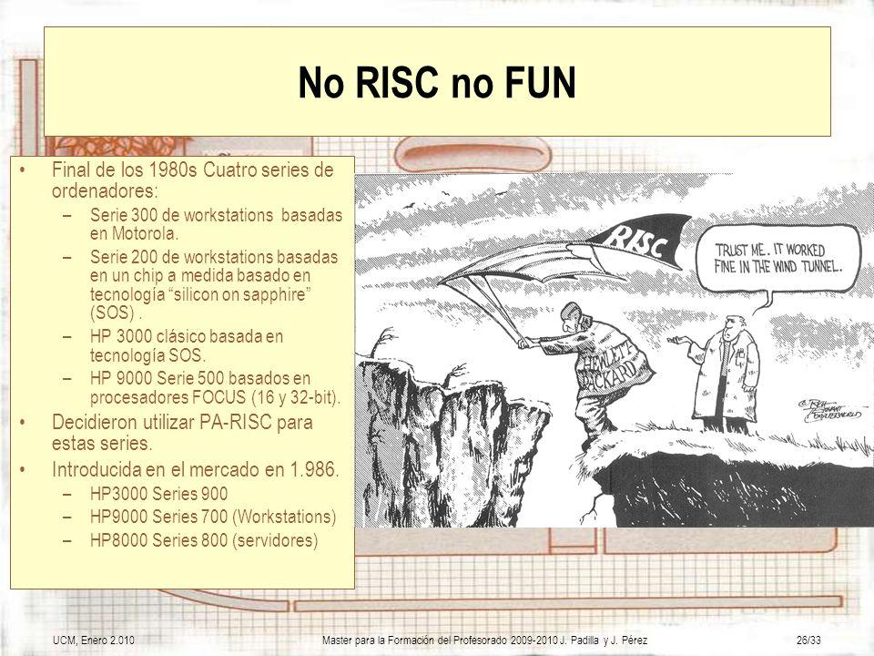 UCM, Enero 2.010Master para la Formación del Profesorado 2009-2010 J. Padilla y J. Pérez26/33 No RISC no FUN Final de los 1980s Cuatro series de orden
