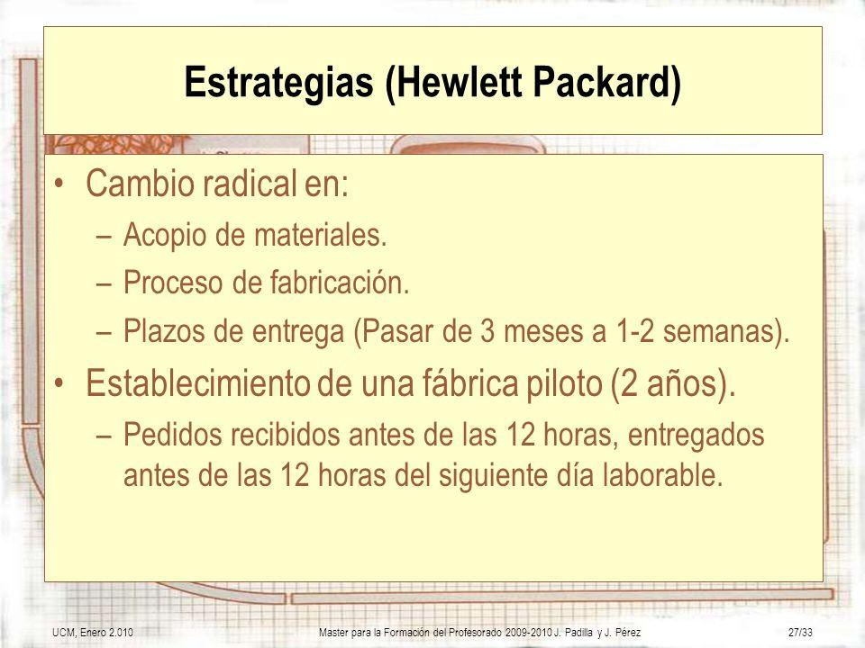 UCM, Enero 2.010Master para la Formación del Profesorado 2009-2010 J. Padilla y J. Pérez27/33 Estrategias (Hewlett Packard) Cambio radical en: –Acopio