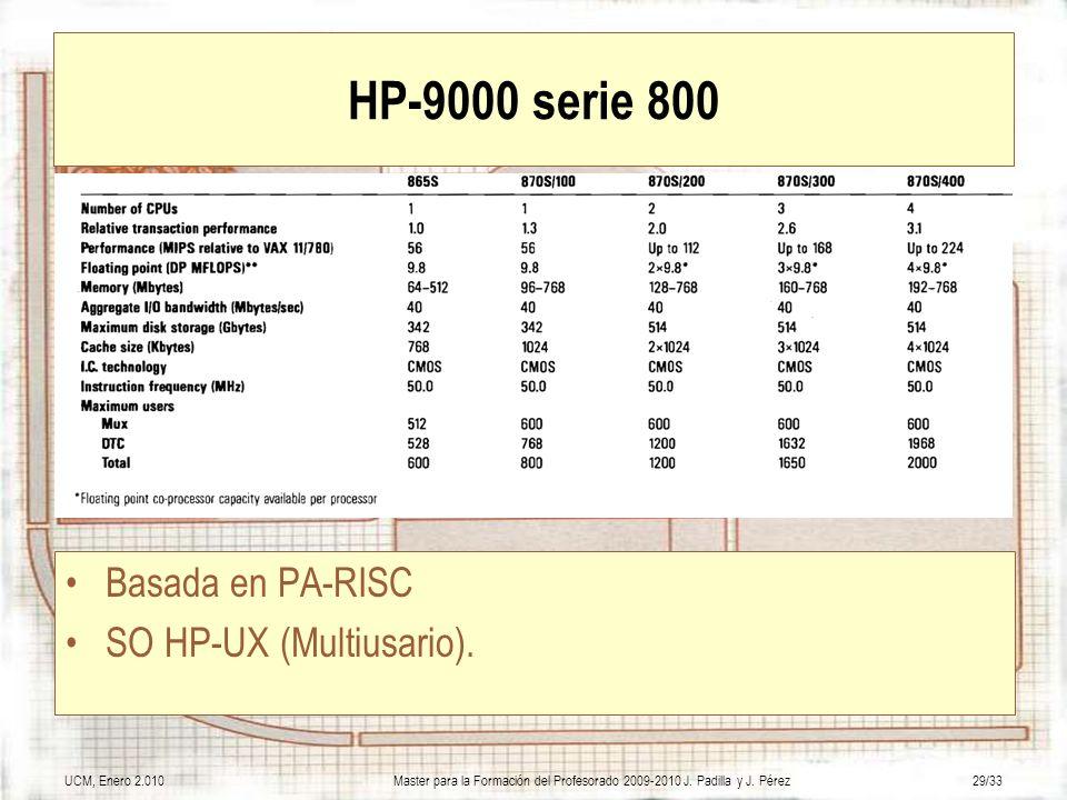 UCM, Enero 2.010Master para la Formación del Profesorado 2009-2010 J. Padilla y J. Pérez29/33 HP-9000 serie 800 Basada en PA-RISC SO HP-UX (Multiusari