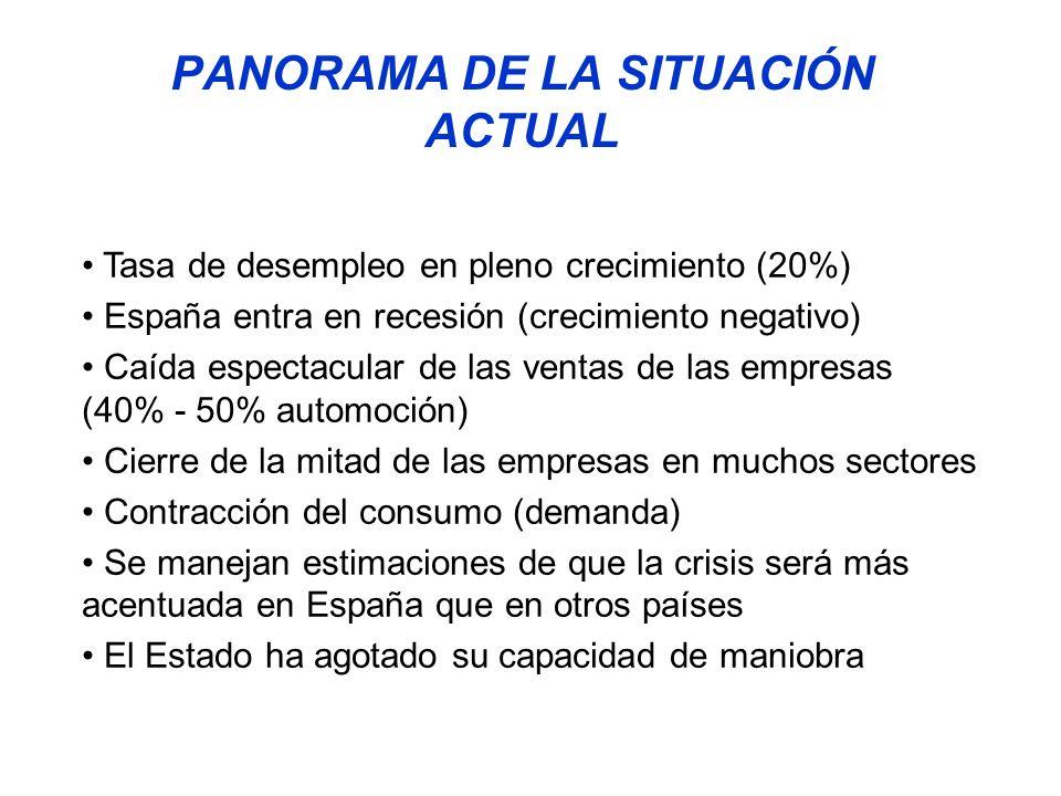 PANORAMA DE LA SITUACIÓN ACTUAL Tasa de desempleo en pleno crecimiento (20%) España entra en recesión (crecimiento negativo) Caída espectacular de las