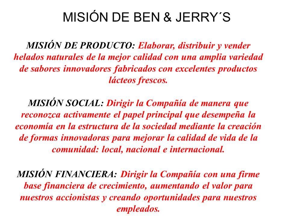 MISIÓN DE BEN & JERRY´S MISIÓN DE PRODUCTO: Elaborar, distribuir y vender helados naturales de la mejor calidad con una amplia variedad de sabores inn
