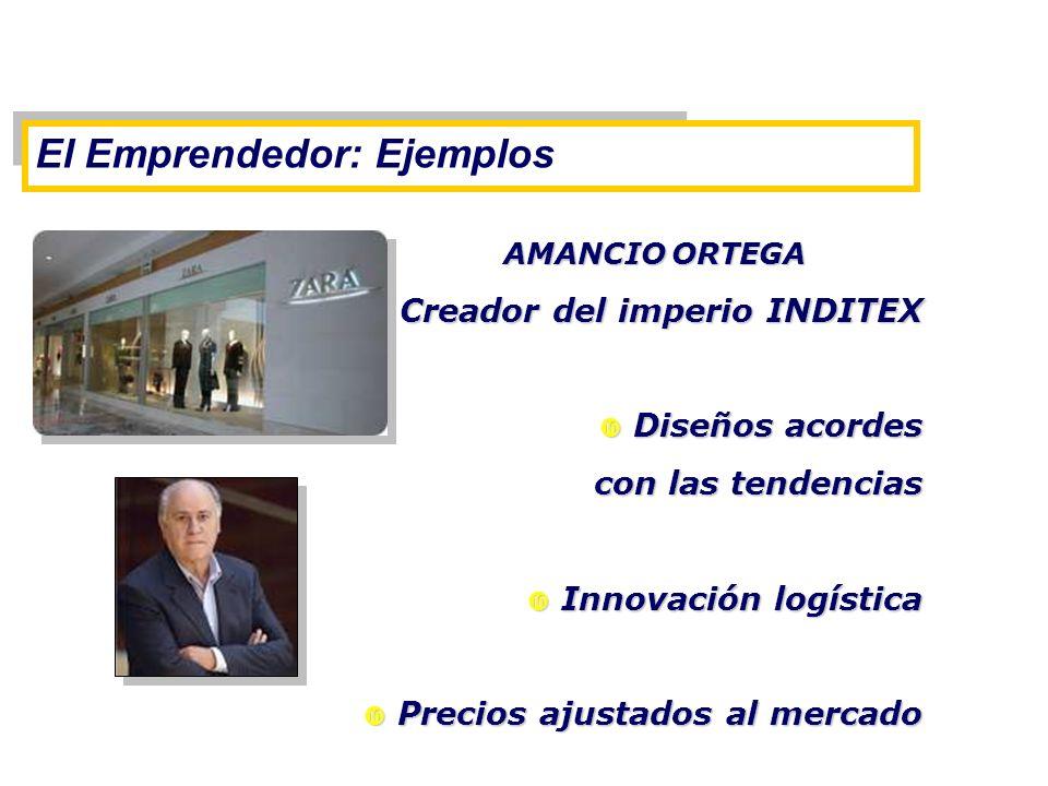 El Emprendedor: Ejemplos AMANCIO ORTEGA Creador del imperio INDITEX Creador del imperio INDITEX Diseños acordes Diseños acordes con las tendencias Inn