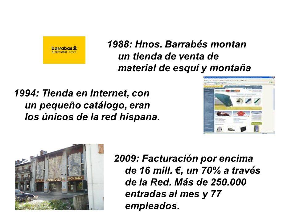 1988: Hnos. Barrabés montan un tienda de venta de material de esquí y montaña 1994: Tienda en Internet, con un pequeño catálogo, eran los únicos de la