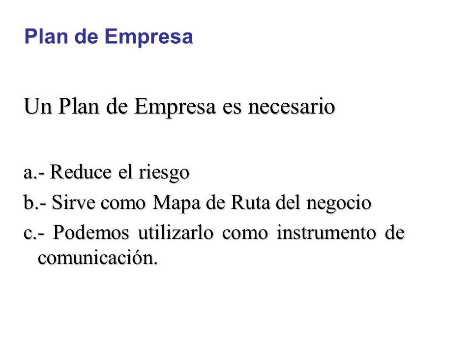 Un Plan de Empresa es necesario a.- Reduce el riesgo b.- Sirve como Mapa de Ruta del negocio c.- Podemos utilizarlo como instrumento de comunicación.