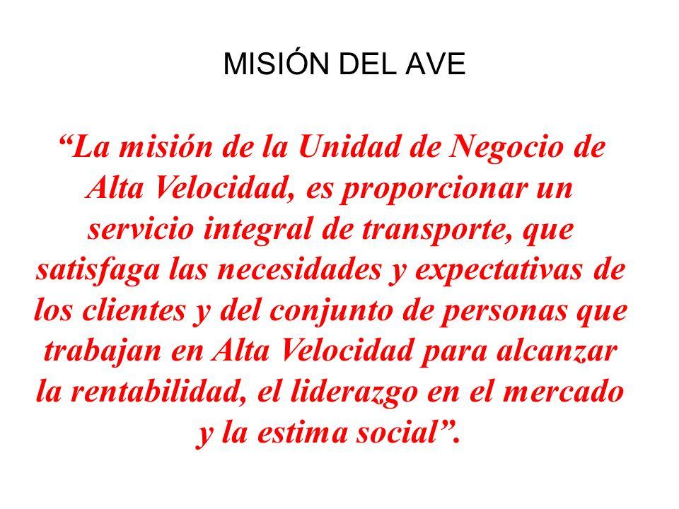 MISIÓN DEL AVE La misión de la Unidad de Negocio de Alta Velocidad, es proporcionar un servicio integral de transporte, que satisfaga las necesidades