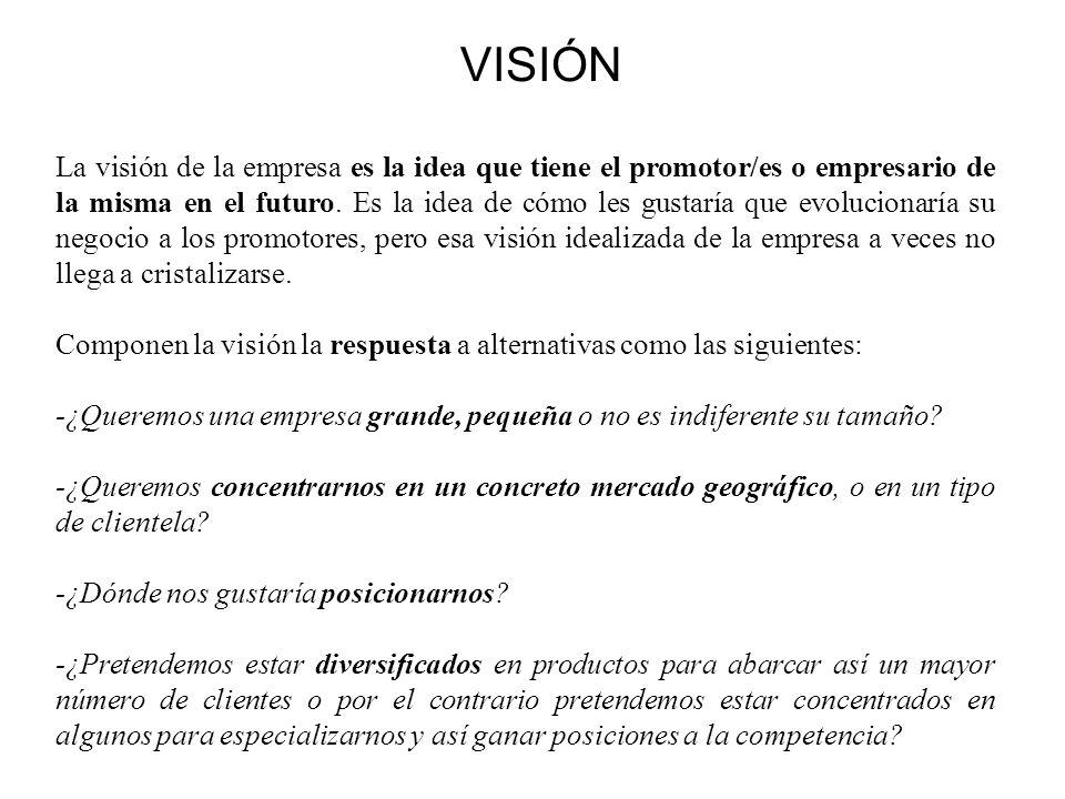 VISIÓN La visión de la empresa es la idea que tiene el promotor/es o empresario de la misma en el futuro. Es la idea de cómo les gustaría que evolucio