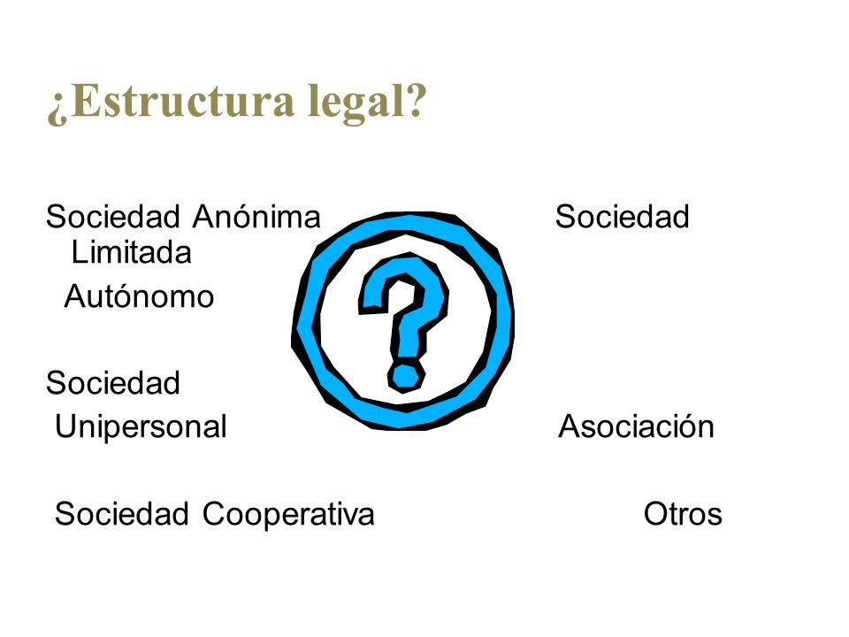 ¿Estructura legal? Sociedad Anónima Sociedad Limitada Autónomo Sociedad Unipersonal Asociación Sociedad Cooperativa Otros