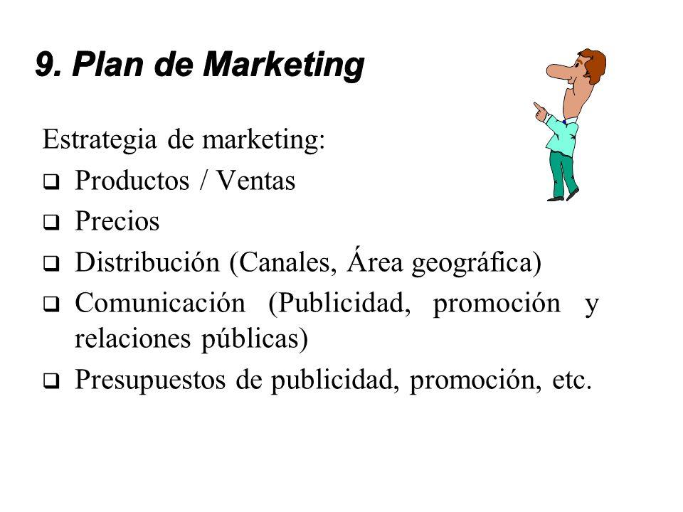 Estrategia de marketing: Productos / Ventas Precios Distribución (Canales, Área geográfica) Comunicación (Publicidad, promoción y relaciones públicas)