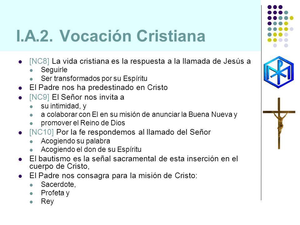 I.A.2. Vocación Cristiana [NC8] La vida cristiana es la respuesta a la llamada de Jesús a Seguirle Ser transformados por su Espíritu El Padre nos ha p