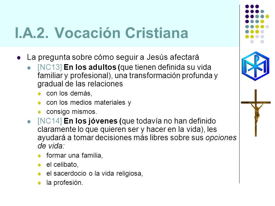I.A.2. Vocación Cristiana La pregunta sobre cómo seguir a Jesús afectará [NC13] En los adultos (que tienen definida su vida familiar y profesional), u