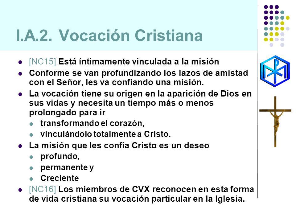 I.A.2. Vocación Cristiana [NC15] Está íntimamente vinculada a la misión Conforme se van profundizando los lazos de amistad con el Señor, les va confia