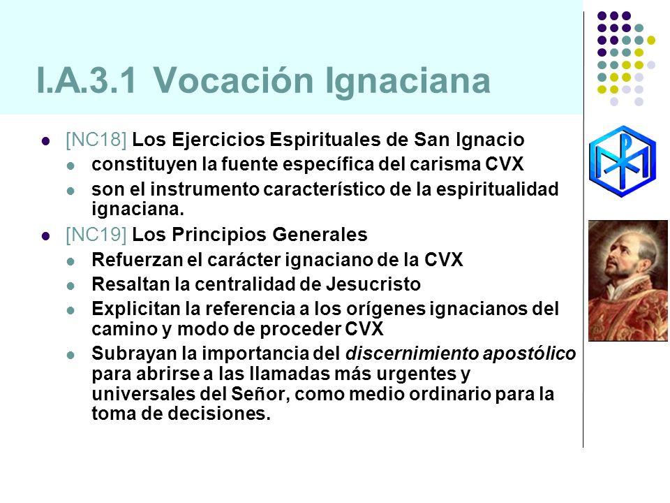 I.A.3.1 Vocación Ignaciana [NC18] Los Ejercicios Espirituales de San Ignacio constituyen la fuente específica del carisma CVX son el instrumento carac