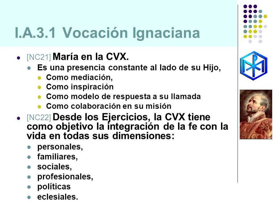 I.A.3.1 Vocación Ignaciana [NC21] María en la CVX. Es una presencia constante al lado de su Hijo, Como mediación, Como inspiración Como modelo de resp