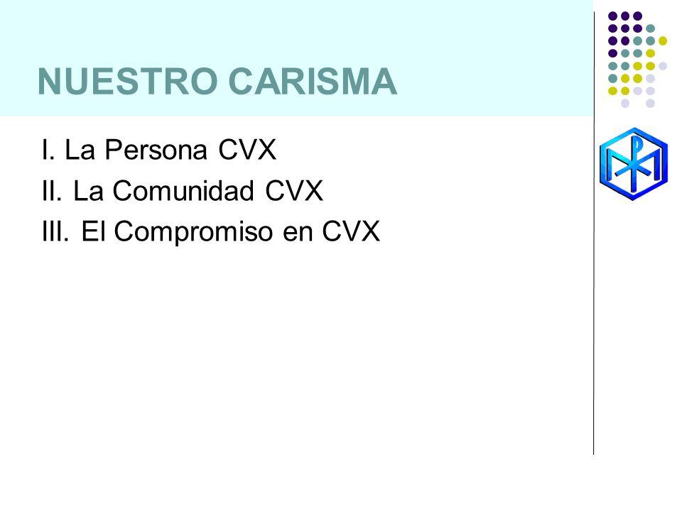 NUESTRO CARISMA I. La Persona CVX II. La Comunidad CVX III. El Compromiso en CVX