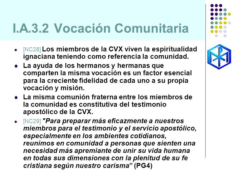 I.A.3.2 Vocación Comunitaria [NC28] Los miembros de la CVX viven la espiritualidad ignaciana teniendo como referencia la comunidad. La ayuda de los he