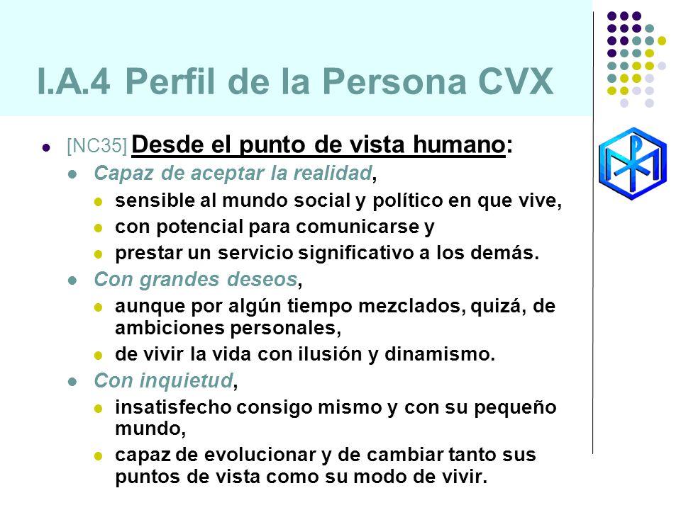 I.A.4 Perfil de la Persona CVX [NC35] Desde el punto de vista humano: Capaz de aceptar la realidad, sensible al mundo social y político en que vive, c